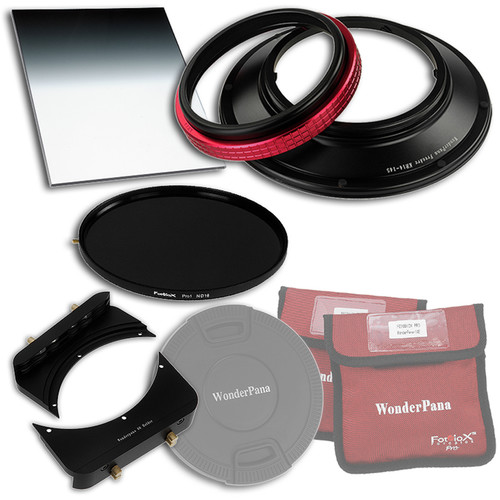"FotodioX WonderPana FreeArc Core Unit Kit for Rokinon/Samyang 14mm Lens with 145mm Solid Neutral Density 1.2 and 6.6 x 8.5"" Hard-Edge Graduated Neutral Density 0.9 Filters"