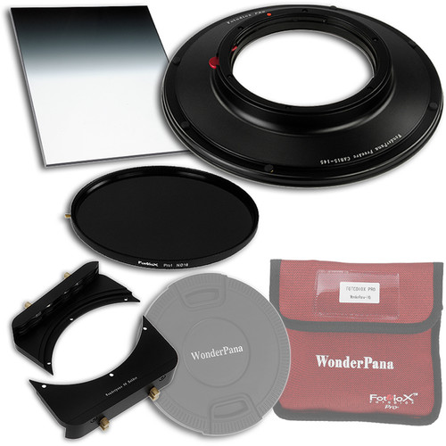 """FotodioX WonderPana FreeArc Core Unit Kit for Canon 8-15mm Fisheye Lens with 145mm Solid Neutral Density 1.2 and 6.6 x 8.5"""" Soft-Edge Graduated Neutral Density 0.9 Filters"""