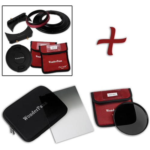 "FotodioX WonderPana FreeArc Core Unit Kit for Olympus M.Zuiko 7-14mm PRO Lens with 145mm Solid Neutral Density 1.2 and 6.6 x 8.5"" Soft-Edge Graduated Neutral Density 0.9 Filters"