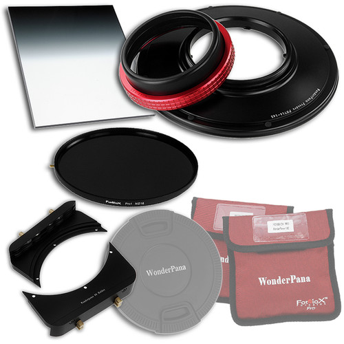 """FotodioX WonderPana FreeArc Core Unit Kit for Panasonic 7-14mm Lens with 145mm Solid Neutral Density 1.2 and 6.6 x 8.5"""" Soft-Edge Graduated Neutral Density 0.9 Filters"""