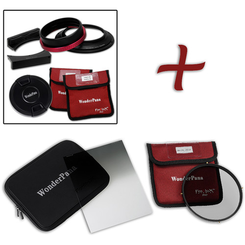 """FotodioX WonderPana FreeArc Core Unit Kit for Nikon 14-24mm Lens with 6.6 x 8.5"""" Hard-Edge Graduated Neutral Density 0.9 and 145mm Circular Polarizer Filters"""