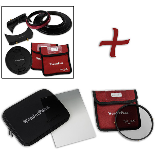 "FotodioX WonderPana FreeArc Core Unit Kit for Olympus M.Zuiko 7-14mm PRO Lens with 6.6 x 8.5"" Hard-Edge Graduated Neutral Density 0.6 and 145mm Circular Polarizer Filters"