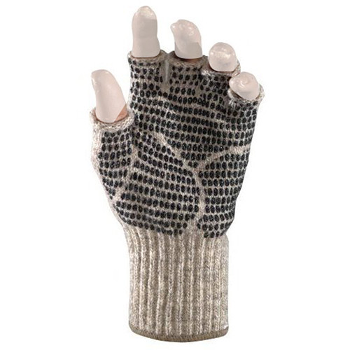 Fox River Medium Weight Ragg Wool Fingerless Gripper Gloves (Brown Tweed, Large)