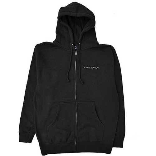 FREEFLY Zippered Hoodie with Front and Back Embroidery (Medium, Black)