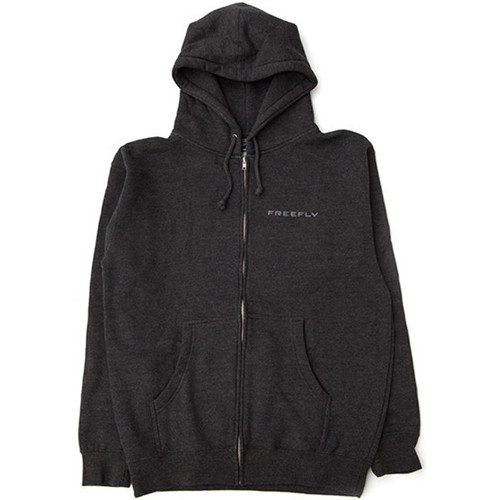 FREEFLY Zippered Hoodie with Front and Back Embroidery (Large, Gray)