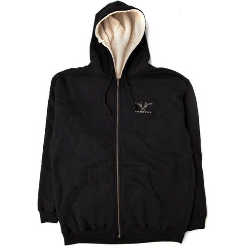 FREEFLY Embroidered Sherpa Lined Zippered Hoodie (X-Large, Black)