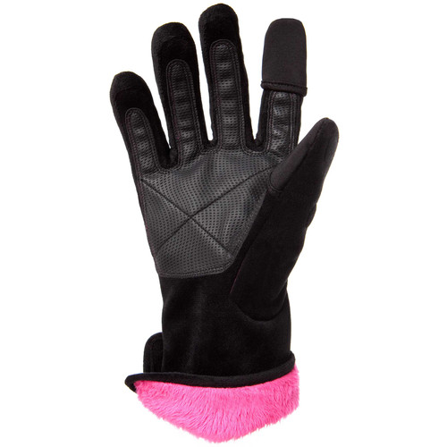 Freehands Women's Microfur Gloves (Medium, Black)