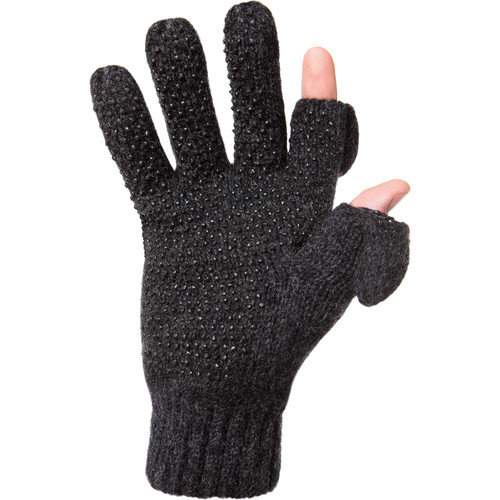 Freehands Ragg-Wool Men's Gloves (Small to Medium, Charcoal)