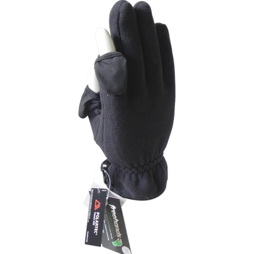 Freehands Men's Polartec Fleece Unlined Gloves (Small, Black)