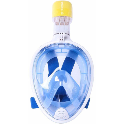 Freewell Full-Face Snorkeling Mask with Action Camera Mount (L/XL, Blue)