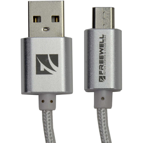 Freewell Micro-USB Cable for Select Drone Remote Controllers (1.5', 2-Pack, Silver)