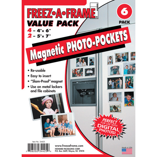 FREEZE-A-FRAME Value Pack Magnetic Photo Pockets (Pack of 6)