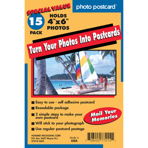 """FREEZE-A-FRAME Do-it-Yourself Photo Postcards (4 x 6"""", 15-Pack)"""