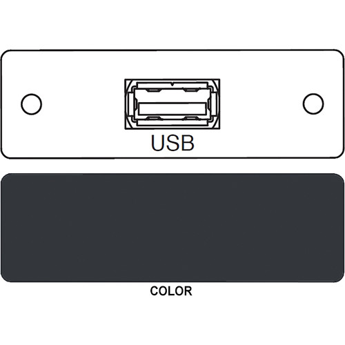 FSR IPS-D715S USB A to USB A Bulkhead Data Connection Insert (Labeled, Black)