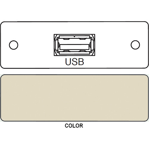FSR IPS-D715S USB A to USB A Bulkhead Data Connection Insert (Labeled, Ivory)