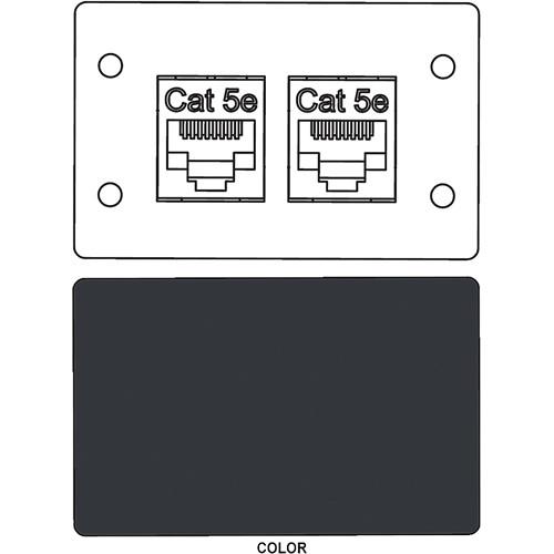 FSR IPS-D721D RJ-45 Bulkhead Dual Cat5-e Insert Plate (Black)