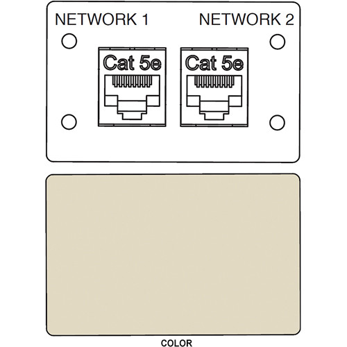 FSR IPS-D721D RJ-45 Bulkhead Dual Cat5-e Insert Plate (Labeled, Ivory)
