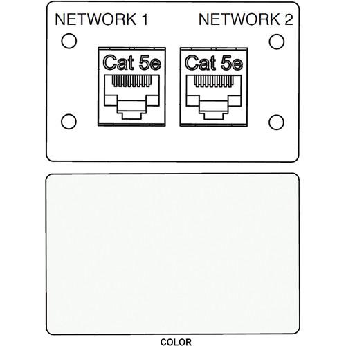 FSR IPS-D721D RJ-45 Bulkhead Dual Cat5-e Insert Plate (Labeled, White)