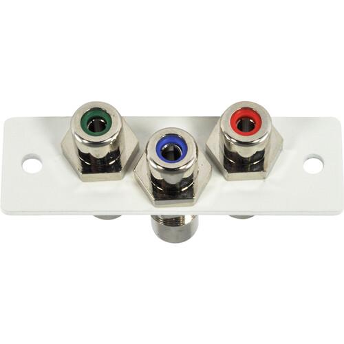 FSR IPS-V230S 3-RCA (R/G/B) to 3-RCA Bulkhead Video Insert (Labeled, White)