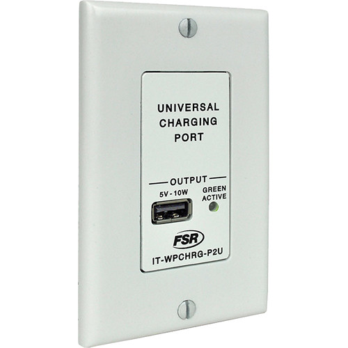 FSR IT-WPCHRG-P2U Decora Style PoE to USB Charger Wall Plate for USB Powered Devices (White)