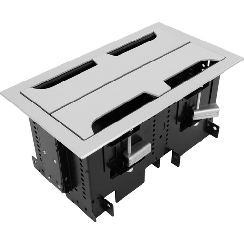 FSR Dual 2 Section Rectangular Table Box with 2 Universal Brackets (Brushed Anodized Aluminum)