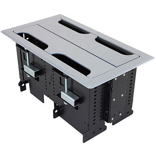 FSR Rectangular Table Box for 4 T6 Large Brackets / Up to 16 TBRT Cable Retractors (Silver)