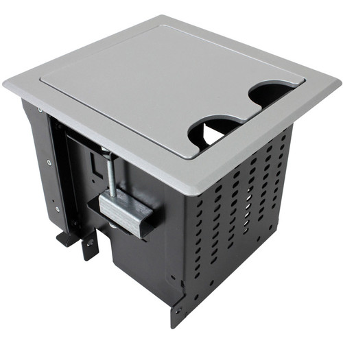 FSR Square Table Box for 3 T6 Large Brackets / Up to 8 TBRT Cable Retractors (Silver)