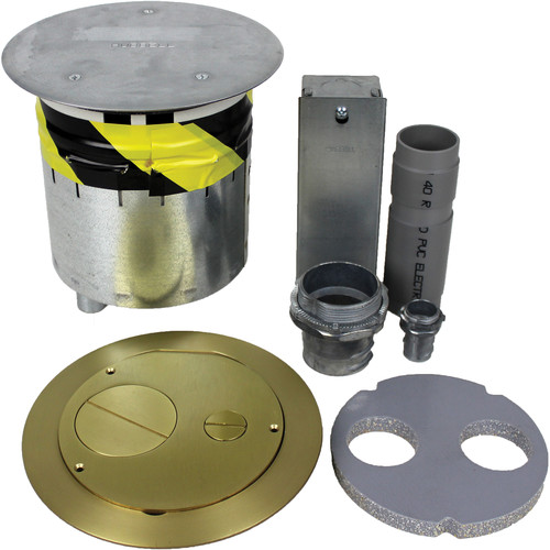 """FSR 6"""" Poke-Thru with Cover and Sub-Plate Set with Furniture Feed (Brass)"""