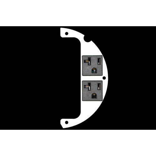 """FSR 6"""" Optional Parts 60/40 Split Plate with 2 20A Pre-Wired Receptacles & Wire Lead (Right)"""