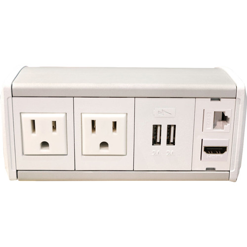 FSR Symphony Clamp-On Table Box Stocked with 2 AC Outlets, 1 Dual Charger, 1 Snap-In Kit (White End Cap)