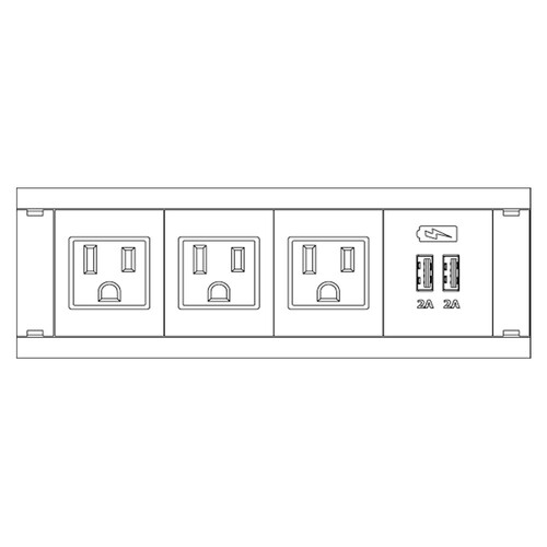 FSR Symphony Dual In-Table Box Stocked with 3 AC Outlets, 1 Dual USB Charger (White)