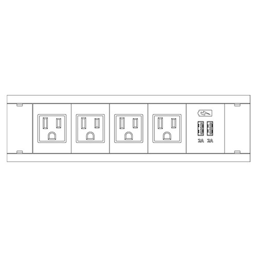 FSR Symphony Dual In-Table Box Stocked with 4 AC Outlets, 1 Dual USB (White)
