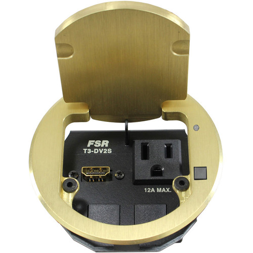 "FSR T3-DV2S-1B 3.5"" HDMI Round Table Box with Button and LED (Brass)"