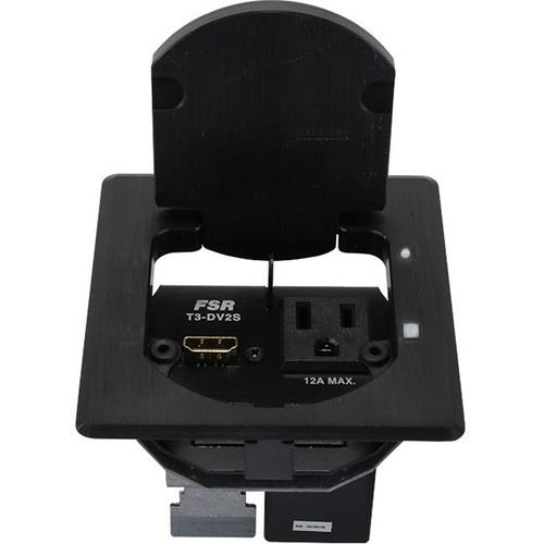 """FSR T3-DV2S-1B 3.5"""" HDMI Square Table Box with Button and LED (Black)"""