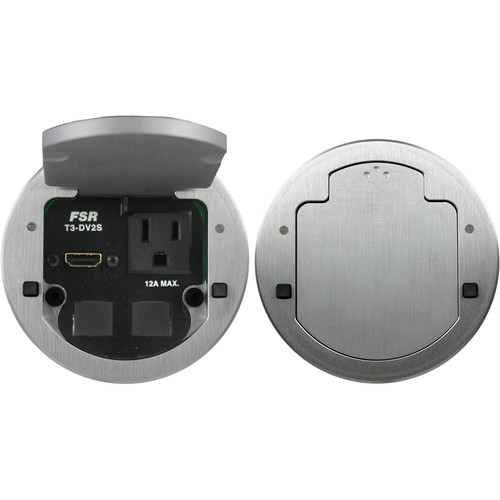"FSR T3-DV2S-2B 3.5"" HDMI Round Table Box with 2 Buttons and 2 LEDs (Aluminum)"