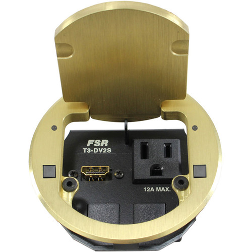 """FSR T3-DV2S-2B 3.5"""" HDMI Round Table Box with 2 Buttons and 2 LEDs (Brass)"""
