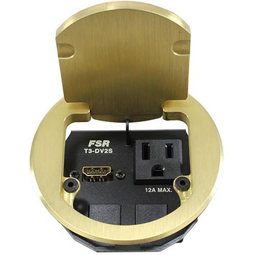 "FSR T3-DV2S 3.5"" HDMI Round Table Box (Brass)"