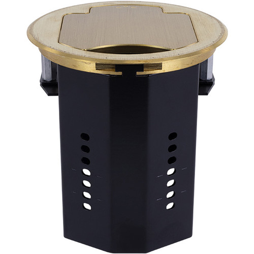 FSR T3-IPS Two-Space IPS Table Box with Two Cable Pull-Through Brackets (Round, Brass)