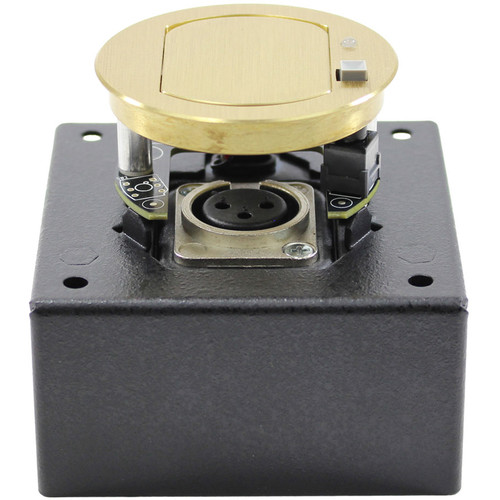 FSR T3-MJ1BM Table Microphone Mount Box with Mute & Improved Noise Isolation (Brass Cover)