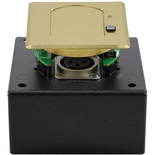 FSR T3-MJ1BM Square Table Microphone Mount Box with Mute & Improved Noise Isolation (Brass Cover)
