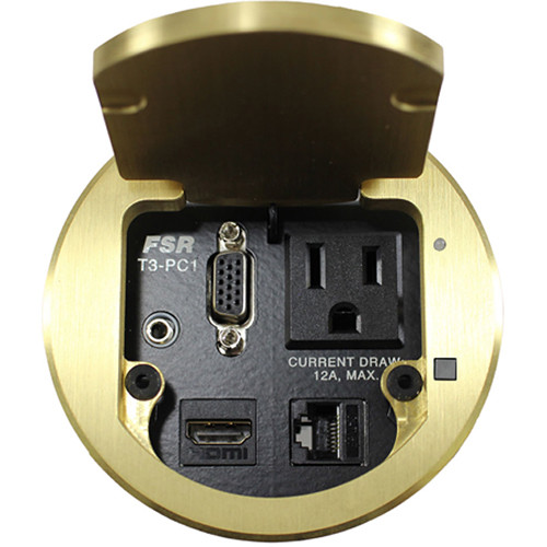 """FSR T3-PC1D 3.5"""" HDMI Round Table Box with Button and LED (Brass)"""