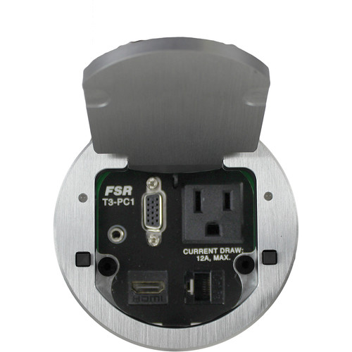 """FSR T3-PC1D-2B 3.5"""" HDMI Round Table Box with 2 Buttons and LEDs (Aluminum)"""