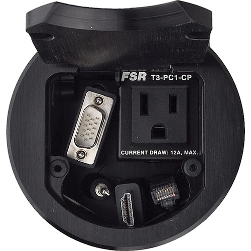 """FSR T3-PC1DCP 3.5"""" Cable Pull Round Table Box (Black)"""