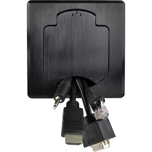 """FSR T3-PC1DCP 3.5"""" Cable Pull Square Table Box (Black)"""