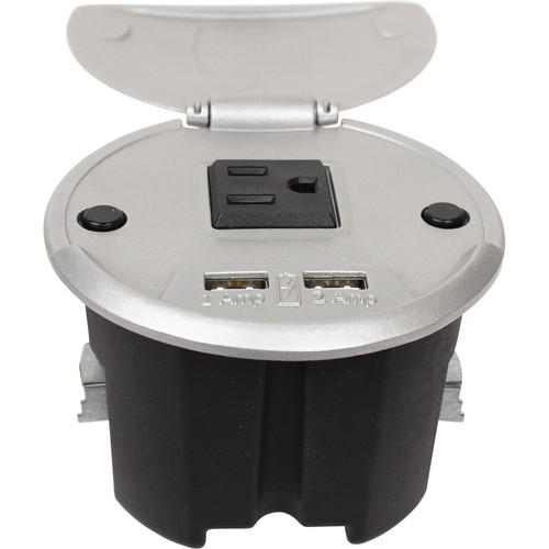 FSR Charging Table Box with AC Outlet & Two USB Ports (Aluminum, 6' AC Cable)