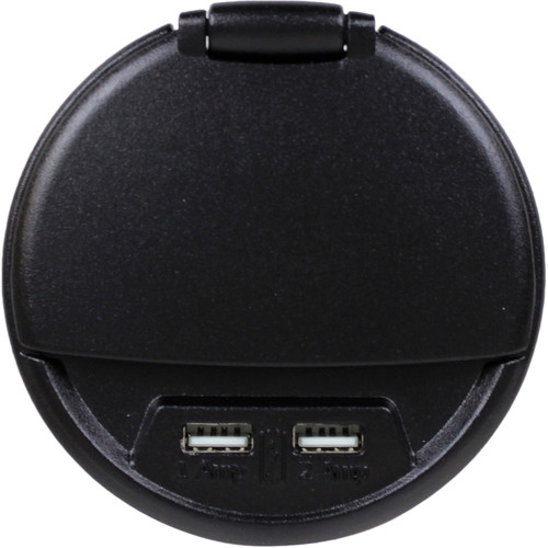 FSR Charging Table Box with AC Outlet & Two USB Ports (Black, 9' AC Cable)