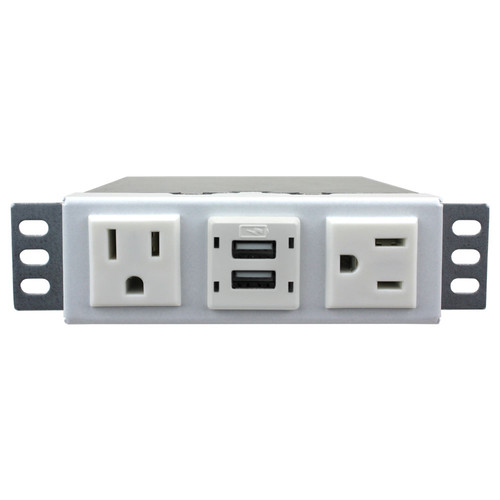 FSR Power Box with Ear Mounts, Two AC Outlets & Dual-USB Charger (White)