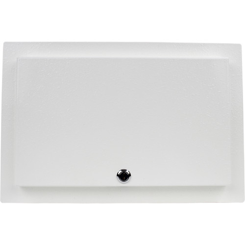 FSR WB-MR4G WB Series Recessed 4-Gang Wall Mounting Plate with Locking Metal Cover (White)