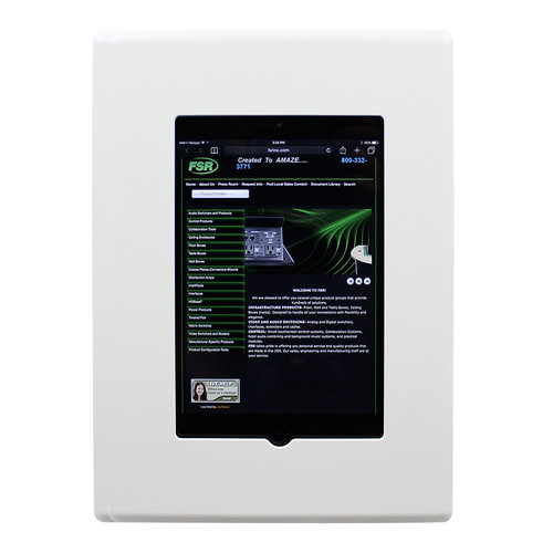 FSR Flush Mount with Back Box and Cover for iPad Mini with Home Button Access (White)