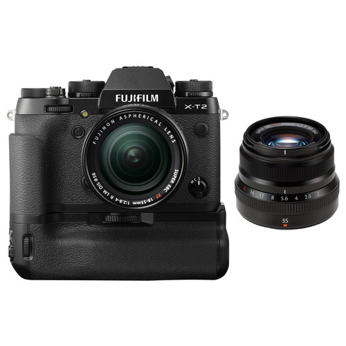 FUJIFILM X-T2 Mirrorless Digital Camera with 18-55mm and 35mm Lenses and Battery Grip Kit